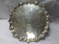 A George II silver salver, Richard Rugg, London 1759, with scrolling shell border, diameter 36.8 cm, 37 troy ounces.