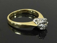 An 18ct yellow gold brilliant cut diamond solitaire, 3.9g, approximately 0.4ct, size L.l