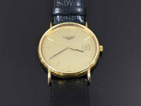 A Gentleman's Longines wrist watch, on black leather strap, gold plated, serial number 29814093.