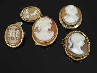 A group of five Cameo brooches, mounted in 9ct gold and other yellow metal. (5)