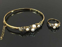 A 9ct gold diamond and pearl  ring, size M, together with the matching bangle, 8.2g. (2)