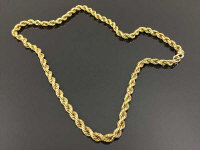 A 9ct gold rope-twist necklace, 15.4g.