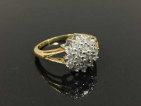 An 18ct gold nineteen stone diamond cluster ring, size P.