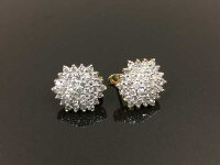 A pair of 9ct gold diamond cluster earrings, approximately 2ct, 6g. (2)