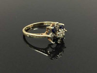 A 9ct gold sapphire and diamond ring, size P.