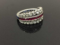 A vintage silver swivel eternity ring, 4.1g, size M.