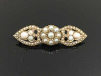 A late Victorian pearl and opal bar brooch, width 4.7 cm, 7.2g.
