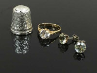 A 9ct gold dress ring, together with a silver thimble and a pair of earrings. (4)
