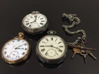 Two silver pocket watches, together with a gilt metal pocket watch and a chain with keys.