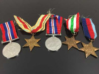 Five WW II medals on suspension ribbons. (5)