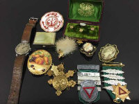 A vintage Siro Gentleman's wrist watch, together with a cameo brooch, studs in box etc.