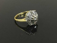 An 18ct gold diamond cluster ring, size I.