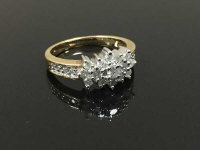 A 9ct gold diamond cluster ring, size O/P.