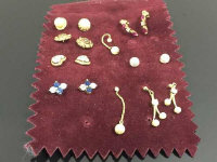 A collection of eight pairs of gold earrings, one pair diamond set. (16)