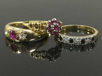 Three 18ct gold rings set with diamonds and rubies,  13g. (3)