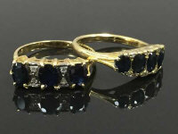 Two 18ct gold diamond and sapphire rings. (2)