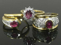 Three 18ct gold diamond and ruby rings, 12.7g. (3)