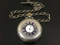 A fine quality silver pocket watch, signed Army and Navy numbered 2378, together with silver Albert chain. (2)