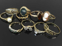 A collection of ten gold dress rings, set with pearl, sapphire, diamond and other gemstones. (10)