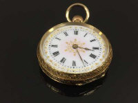 An 18ct gold fob watch with enamel dial, 25.4g, diameter 3 cm.