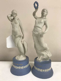 Two Wedgwood figurines - Leda and the Swan and Terpsichore, height 26 cm (2)