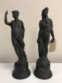 Two black Wedgwood figures on socle bases - Hercules and Mercury, height 29 cm (2)