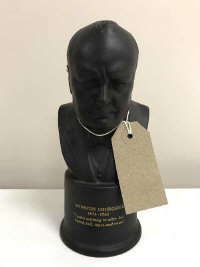 A Wedgwood black basalt The Winston Churchill bust, limited edition number 234/750, modelled by Arnold Machin, height 18 cm