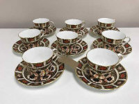 A set of eight Royal Crown Derby tea cups and matching saucers, Imari pattern 1128. (16)