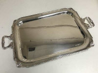 A large silver twin handled tray, Sheffield 1976, width 71 cm, 2861g.