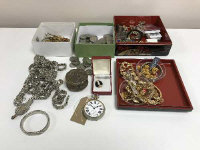 A tray of costume jewellery, eight day pocket watch, one shilling coins etc.