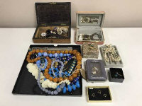 A tray of costume jewellery, beaded necklace, Disney wrist watch, etc. (q)