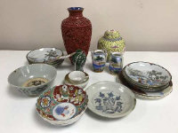 An interesting collection of antique and later Chinese and Japanese ceramics to include Chinese ginger jar, cinnabar vase, antique Chinese stone ware bowl and saucer, Imari dish etc. (q)