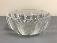 A Lalique crystal fruit bowl, decorated with vertical sheaves of corn, diameter 21.5 cm, signed Lalique France to base.