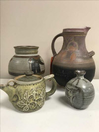 A stoneware pottery vase, probably Jeremy Leach (born 1941), height 12cm, together with three other pieces of studio pottery including an Eric Stockl jug (4)