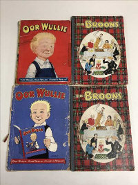 Oor Wullie, by Dudley D. Watkins, Editions 1951 (spine repaired) and 1955 (lacking back cover), together with another two volumes - The Broons, both 1958. (4)