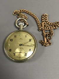 A Rolex Military Issue Open Faced Nickel Plated Pocket Watch, the silvered dial with Arabic numerals (3, 9 and 12 being luminous), with subsidiary seconds and blued hour and minute hands, screw-off case back stamped 'A. 20318 G.S. MK. II' above broad arrow,  case 50mm, upon a gilt-metal Albert chain with T-bar.