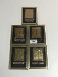 Five framed Los Angeles 1984 Olympics limited edition commemorative stamps, layered in 22 carat gold (5)