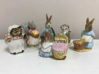 Six Beswick Beatrix Potter figures - Miss Moppet, Goody Tiptoes, Hunca Munca, Peter Rabbit, Mrs Tiggy Winkle and Cecily Parsley. (6)