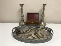 A silver plated galleried tray together with a pair of Sheffield plated candlesticks, cutlery, Victorian tea caddy etc. (Q)