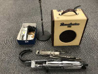 A vintage Danelectro amplifier 'Nifty Seventy', together with music stands, condenser microphone etc. (Q)