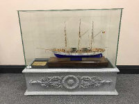 A scratch-built model - Mercator tall ship, contained within a glazed display case on stand, height 80 cm.
