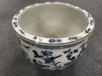 A Chinese crackle glazed blue and white planter, diameter 40 cm.