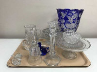 A collection of crystal, cobalt blue overlay vase etc. (Q)