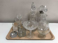 A collection of crystal decanters, glass, comport etc.