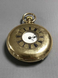 A very fine quality 18ct half hunter Karussell pocket watch, number 1071 by Langford, Bristol Goldsmiths Alliance Company, 117g gross.