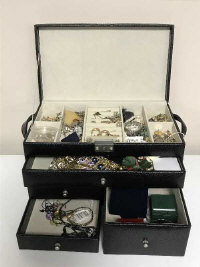 A large box of costume jewellery, to also include pair of 9ct gold earrings, silver bangle, silver charm bracelet etc.
