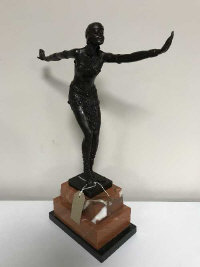 An Art Deco style bronze figure after D H Chiparus modelled as a dancer, on stepped marble plinth, height 48 cm.