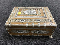 A nineteenth century Vizagapatam table box, width 25.5 cm.