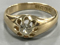 18ct antique signet ring set with old cut diamond, approximately .5 carat 4.7 grams