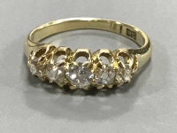 Antique 18ct five stone old cut diamond ring, approximately .8ct  3.7 grams